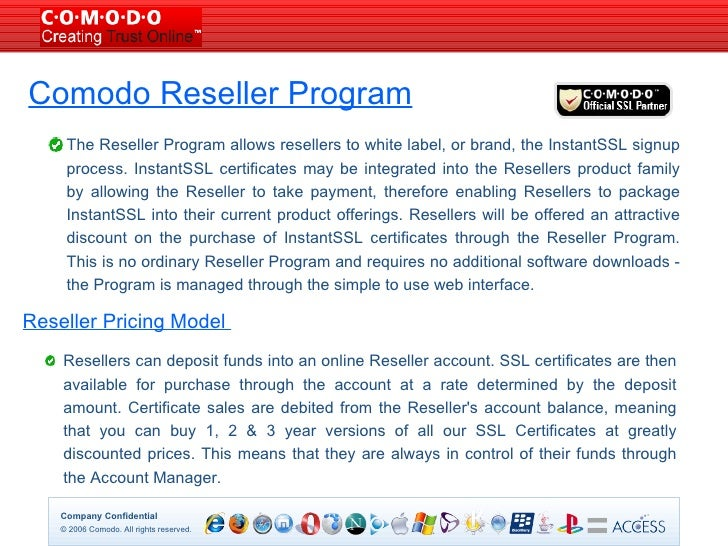 Slide 1 - Authenticated Reseller SSL Certificate Authority