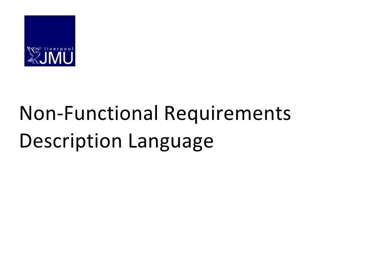 Non-Functional Requirements Description Language