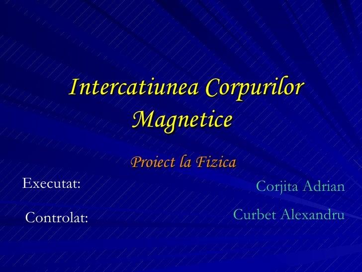 Intercatiunea Corpurilor Magnetice Proiect la Fizica Executat: Corjita Adrian Controlat: Curbet Alexandru