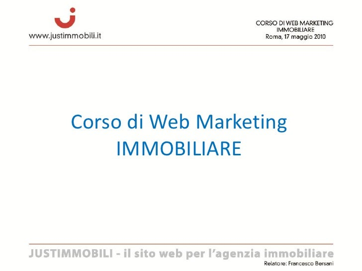 Corso di Web Marketing     IMMOBILIARE
