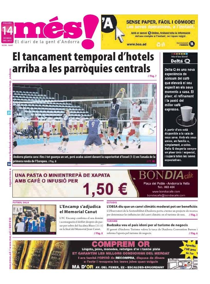 DILLUNS14 DE MAIG DEL 2012NÚM. 1647                                            El tancament temporal d'hotels             ...