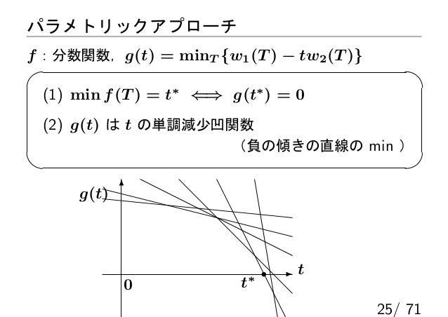 パラメトリックアプローチf :分数関数,g(t) = minT {w1 (T ) − tw2 (T )} (1) min f (T ) = t∗ ⇐⇒ g(t∗ ) = 0 (2) g(t) は t の単調減少凹関数              ...