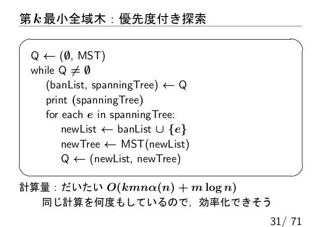 第 k 最小全域木:優先度付き探索 Q ← (∅, MST) while Q ̸= ∅    (banList, spanningTree) ← Q    print (spanningTree)    for each e in spanni...