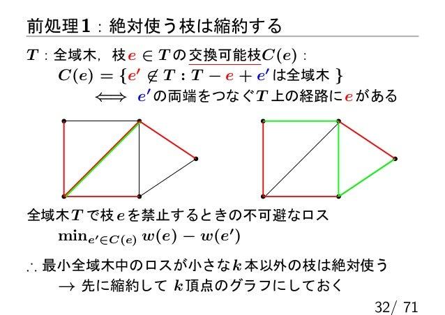 前処理 1:絶対使う枝は縮約するT :全域木,枝 e ∈ T の 交換可能枝C(e):   C(e) = {e′ ̸∈ T : T − e + e′ は全域木 }       ⇐⇒ e′ の両端をつなぐ T 上の経路に e がある全域木 T で...