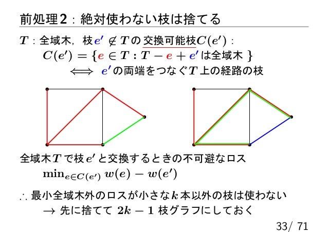 前処理 2:絶対使わない枝は捨てるT :全域木,枝 e′ ̸∈ T の 交換可能枝C(e′ ):   C(e′ ) = {e ∈ T : T − e + e′ は全域木 }        ⇐⇒ e′ の両端をつなぐ T 上の経路の枝全域木 T ...