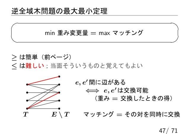 逆全域木問題の最大最小定理      min 重み変更量 = max マッチング≥ は簡単(前ページ)≤ は難しい;当面そういうものと覚えてもよい             e, e′ 間に辺がある                 ⇐⇒ e, e...