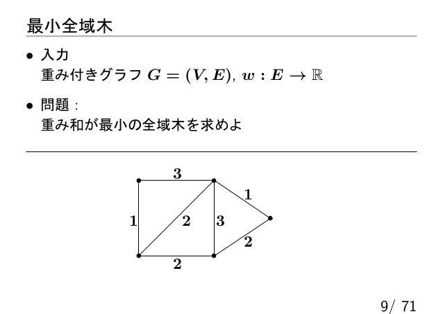 最小全域木• 入力 重み付きグラフ G = (V, E), w : E → R• 問題: 重み和が最小の全域木を求めよ              3                          1          1       2  ...