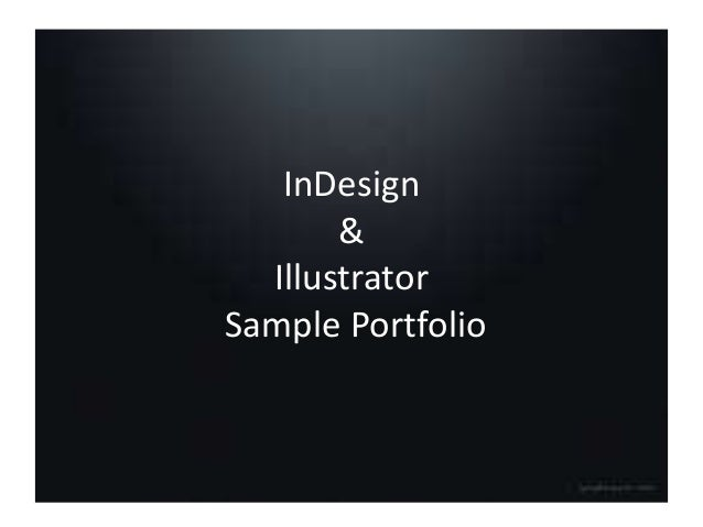 InDesign & Illustrator Sample Portfolio