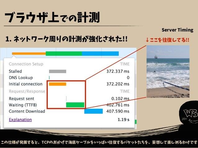 巨大なファイルのアップロードやダウンロードも、ユースケースに含めていく方針です ブラウザ上での計測 5. 巨大ファイルのダウン/アップロードも計測する!(これから) ブラウザ サーバ ZIP 動画 画像 Resource Timing