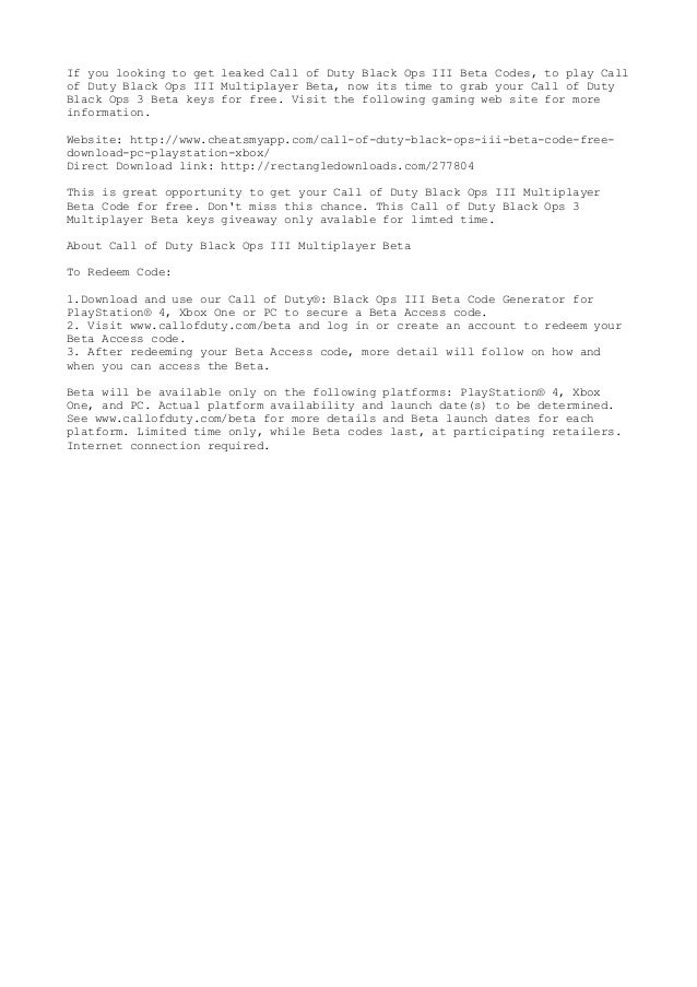 Black ops 3 beta codes giveaways