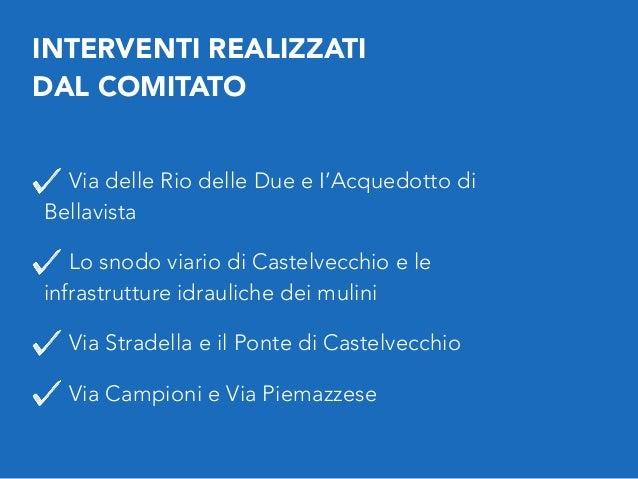 INTERVENTI REALIZZATI DAL COMITATO Via delle Rio delle Due e I'Acquedotto di Bellavista Lo snodo viario di Castelvecchio ...