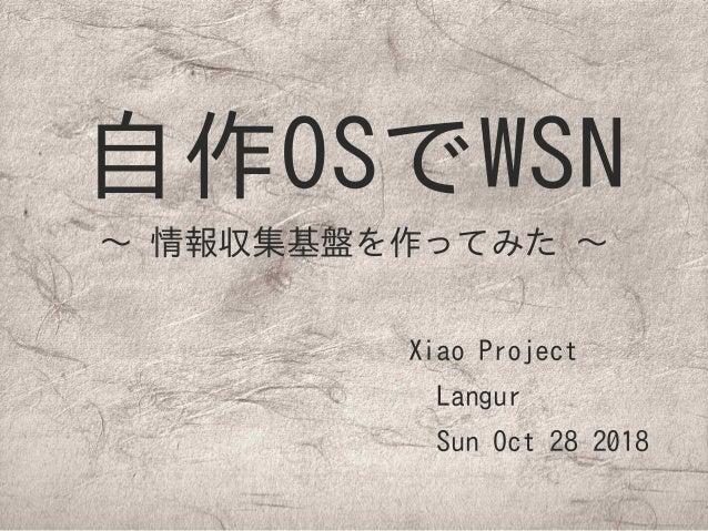 自作OSでWSN 〜 情報収集基盤を作ってみた 〜 Xiao Project  Langur  Sun Oct 28 2018