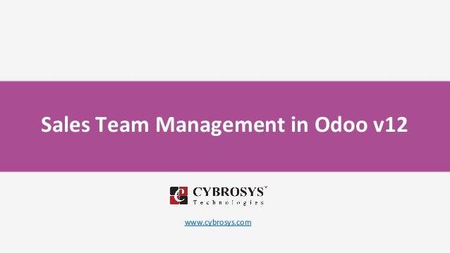 Sales Team Management in Odoo v12 www.cybrosys.com