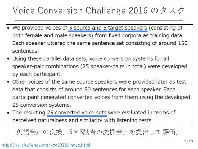 /13 Voice Conversion Challenge 2016 のタスク 7 http://vc-challenge.org/vcc2016/index.html 英語音声の変換.5×5話者の変換音声を提出して評価.