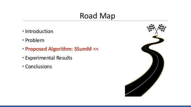 Road Map • Introduction • Problem • Proposed Algorithm: SSumM << • Experimental Results • Conclusions