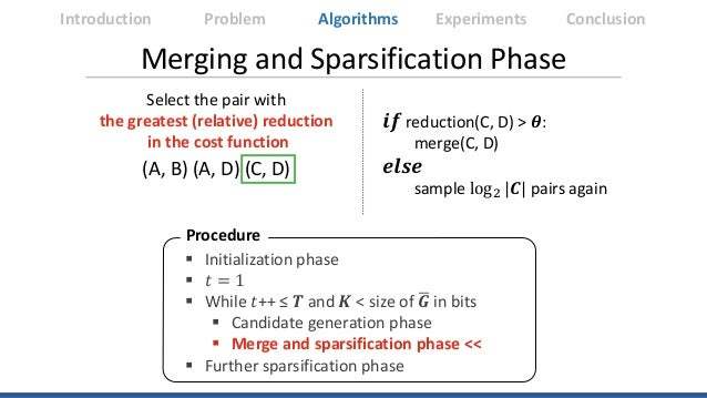 Merging and Sparsification Phase Select the pair with the greatest (relative) reduction in the cost function 𝒊𝒊𝒊𝒊 reductio...
