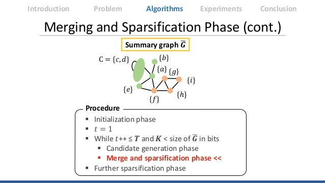 Merging and Sparsification Phase (cont.) Summary graph �𝑮𝑮 Introduction Algorithms Experiments ConclusionProblem Procedure...