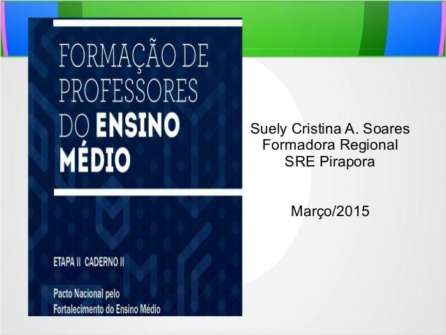 Suely Cristina A. Soares Formadora Regional SRE Pirapora Março/2015