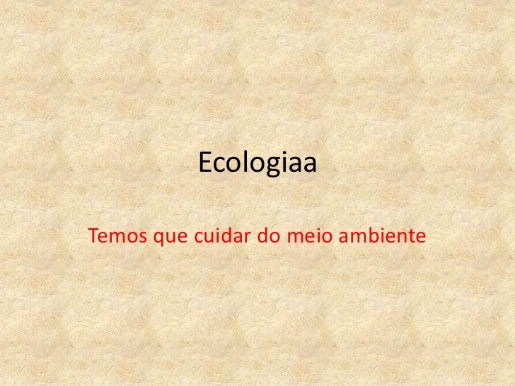 EcologiaaTemos que cuidar do meio ambiente
