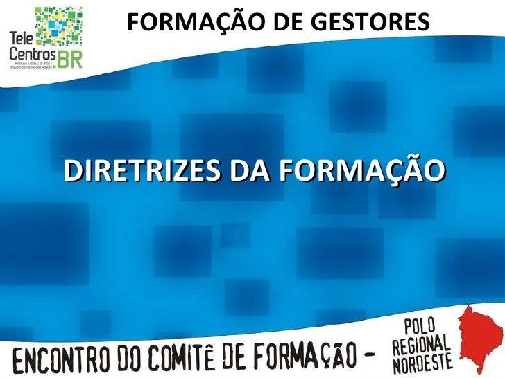 FORMAÇÃO DE GESTORES DIRETRIZES DA FORMAÇÃO