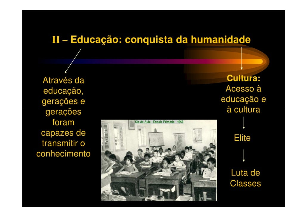 II – Educação: conquista da humanidade Através da                         Cultura:  educação,                         Aces...