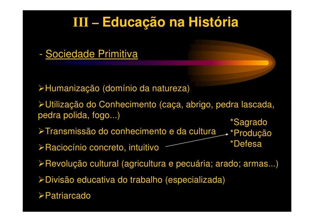 III – Educação na História- Sociedade Primitiva Humanização (domínio da natureza) Utilização do Conhecimento (caça, abrigo...