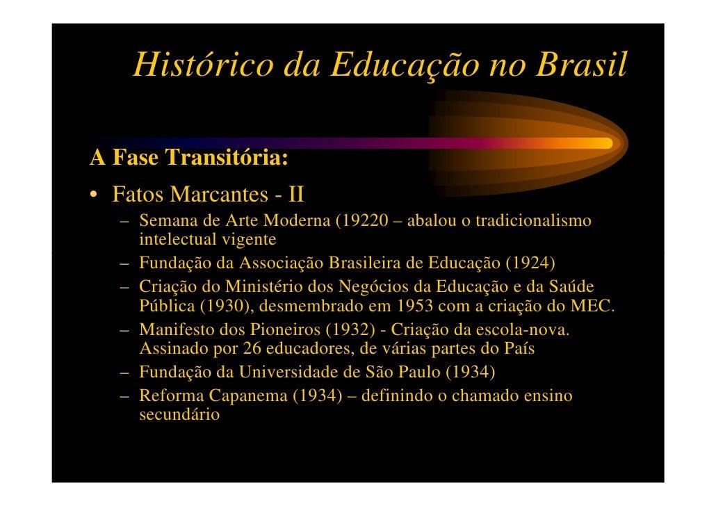 Histórico da Educação no BrasilA Fase Transitória:• Fatos Marcantes - II   – Semana de Arte Moderna (19220 – abalou o trad...