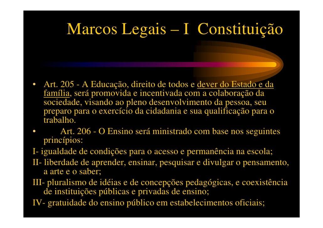 Marcos Legais – I ConstituiçãoV- valorização dos profissionais de ensino, garantidos, na forma da lei,    planos de carrei...
