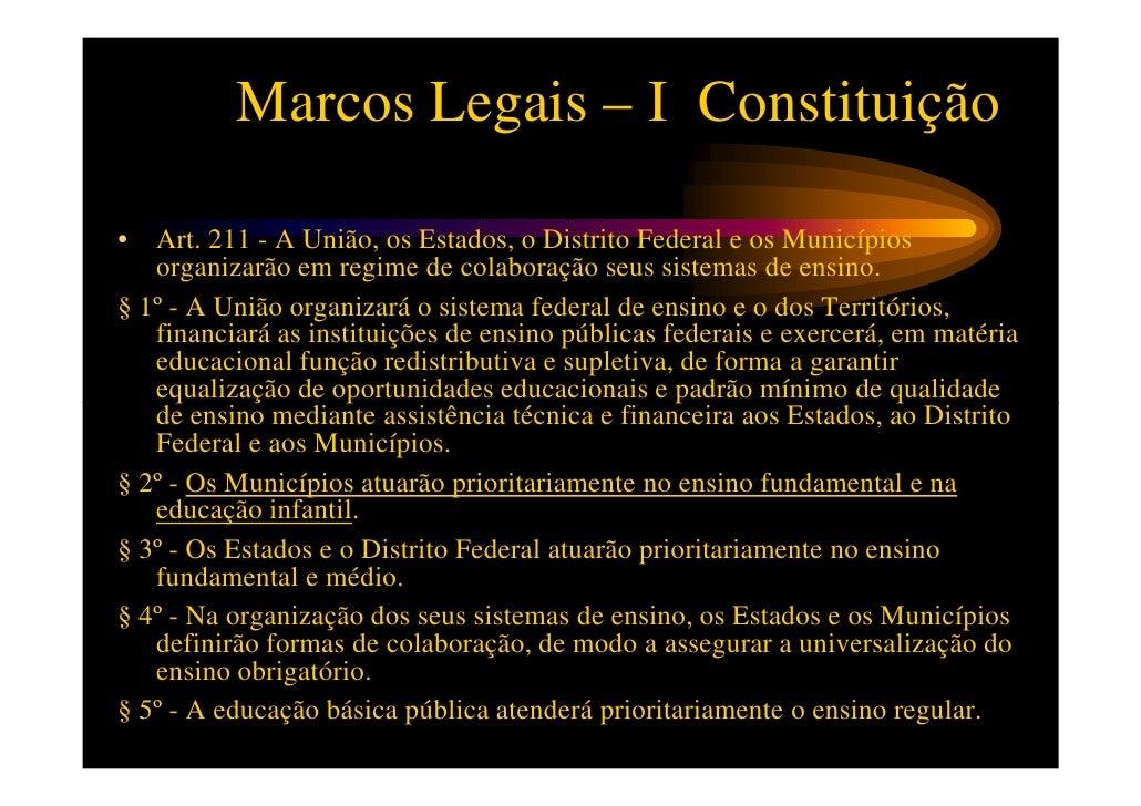 Marcos Legais – I Constituição• Art. 212 - A União aplicará, anualmente, nunca menos de   dezoito, e os Estados, o Distrit...