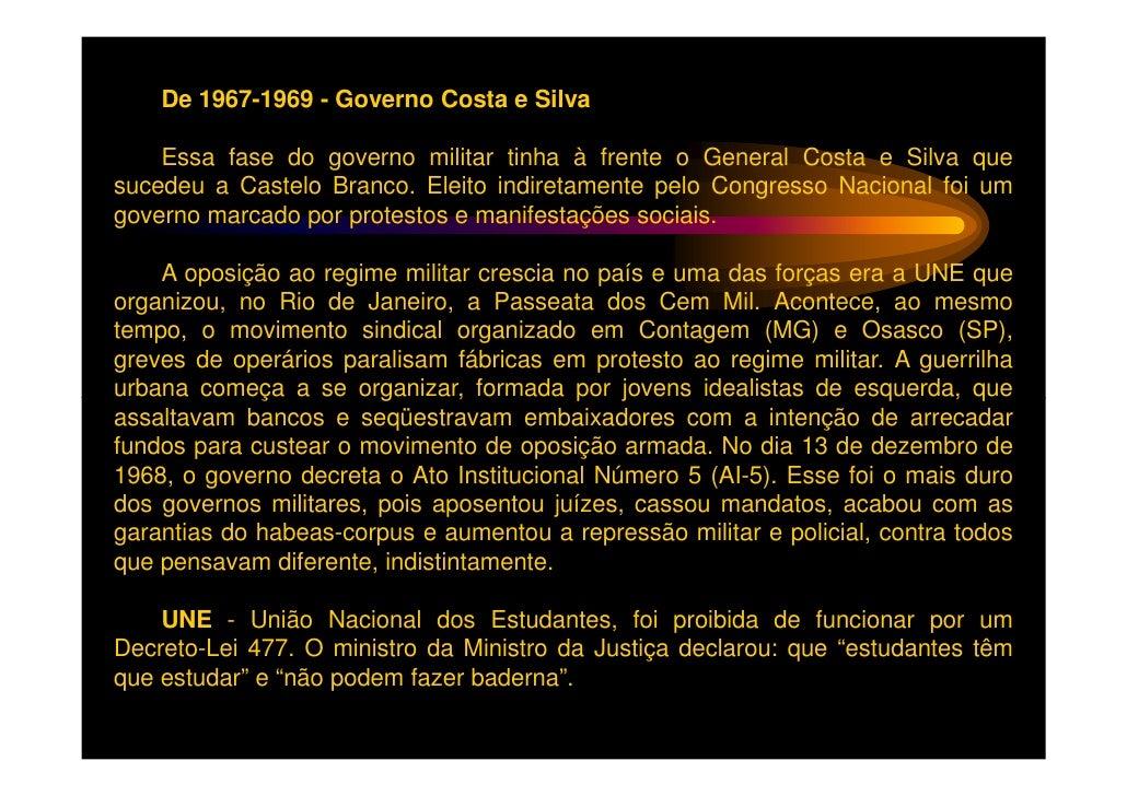 O Ato Institucional Nº5 ou AI-5 foi o quinto de uma série de decretosemitidos pelo regime militar brasileiro. O AI-5 sobre...