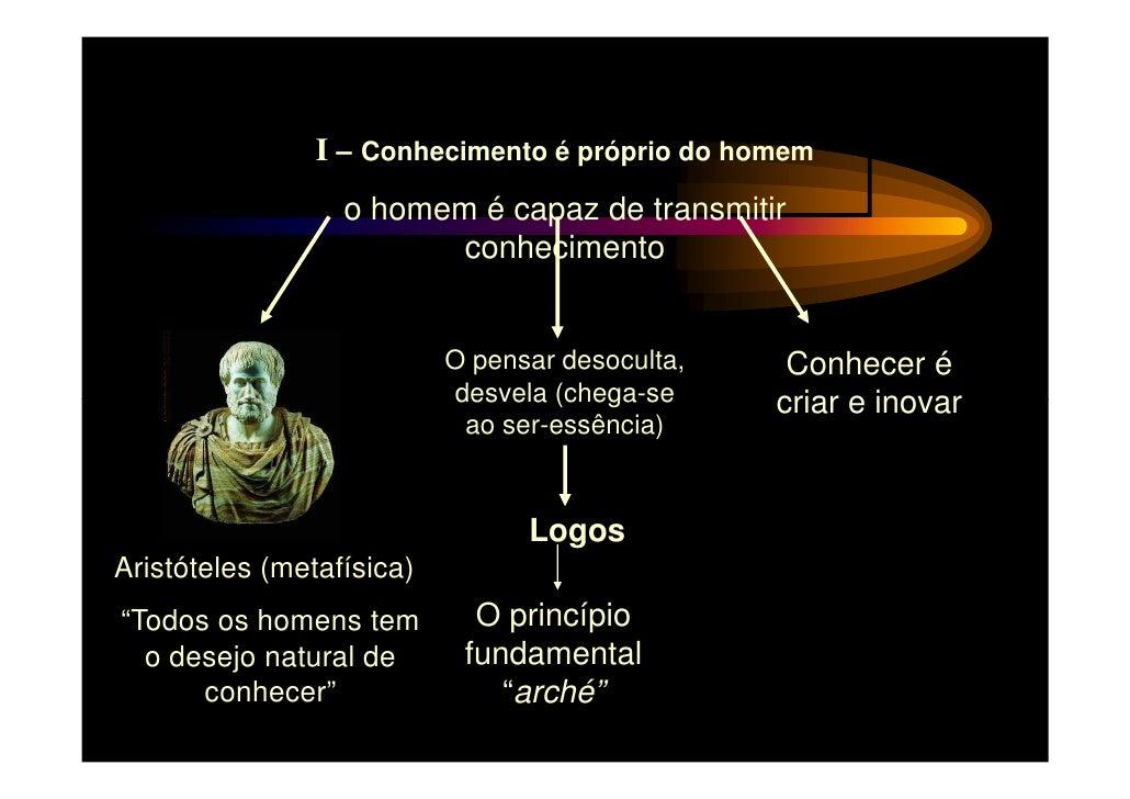 I – Conhecimento é próprio do homem                  o homem é capaz de transmitir                         conhecimento   ...