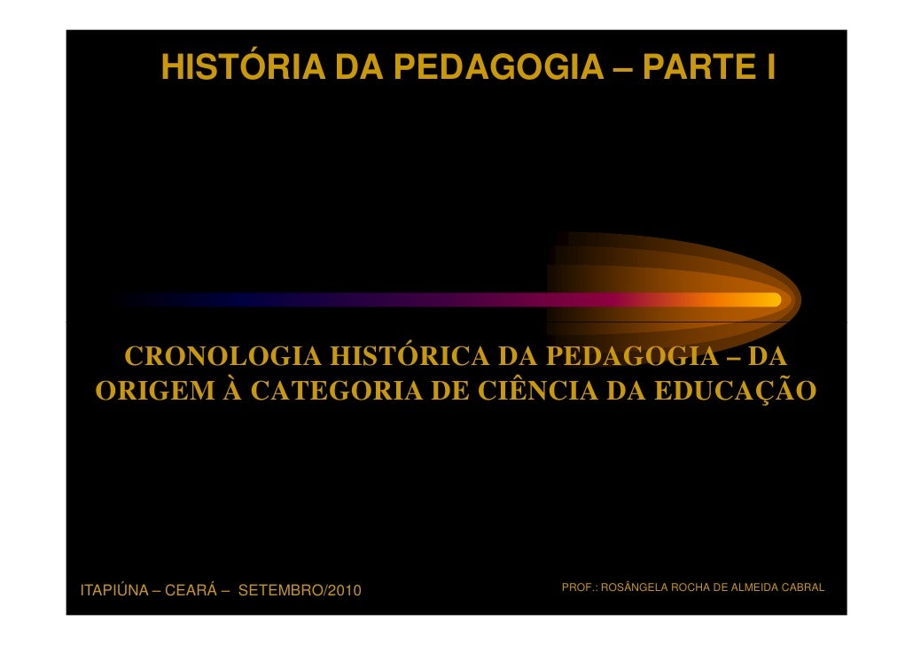 HISTÓRIA DA PEDAGOGIA – PARTE I  CRONOLOGIA HISTÓRICA DA PEDAGOGIA – DA ORIGEM À CATEGORIA DE CIÊNCIA DA EDUCAÇÃOITAPIÚNA ...