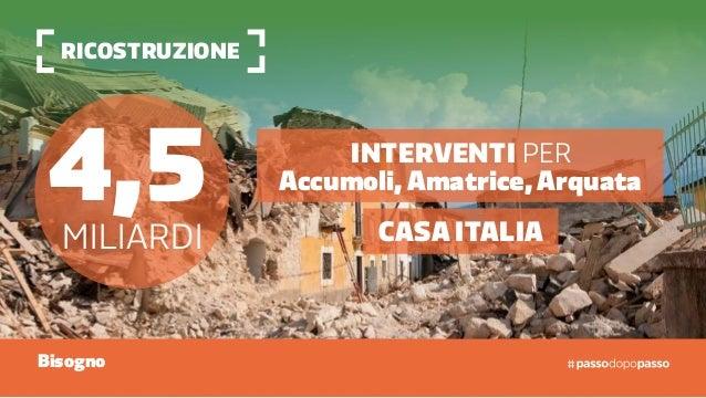 ricostruzione 4,5miliardi Casa Italia Interventi per Accumoli, Amatrice, Arquata Bisogno