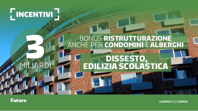 incentivi Futuro 3miliardi Bonus ristrutturazione anche per condomini e alberghi Dissesto, edilizia scolastica