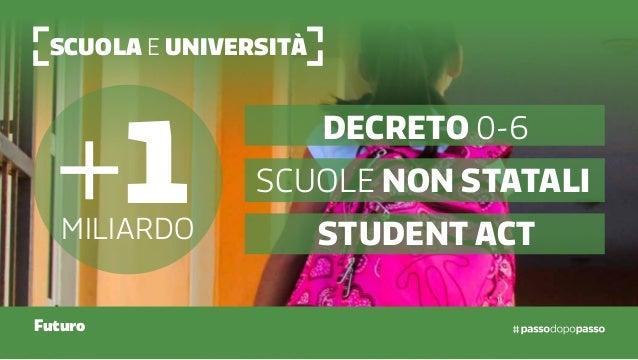 Scuola e Università Futuro +1miliardo Decreto 0-6 Scuole non statali Student act