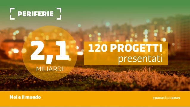 Periferie Noi e il mondo 2,1miliardi 120 progetti presentati