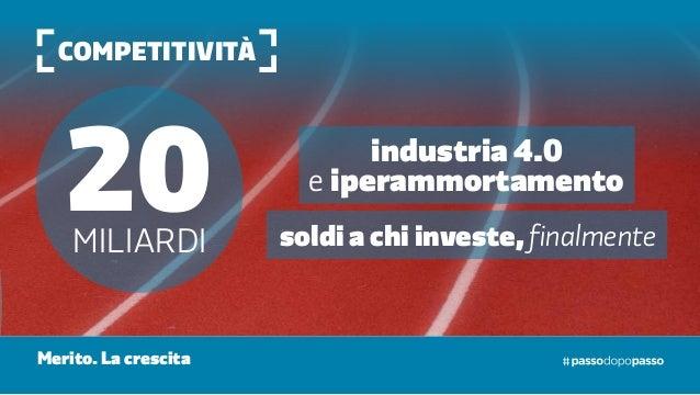 competitività 20MILIardi soldi a chi investe, finalmente industria 4.0 e iperammortamento Merito. La crescita