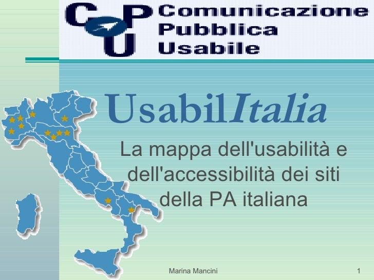 Usabil Italia La mappa dell'usabilità e dell'accessibilità dei siti della PA italiana