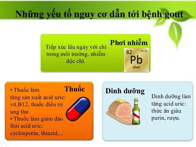 Phơi nhiễm Thuốc Dinh dưỡng▪ Thuốc làm tăng sản xuất acid uric: vit.B12, thuốc điều trị ung thư. ▪ Thuốc làm giảm đào thải...