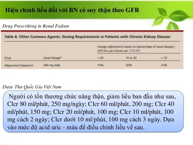 Hiệu chỉnh liều đối với BN có suy thận theo GFR Người có tổn thương chức năng thận, giảm liều ban đầu như sau, Clcr 80 ml/...