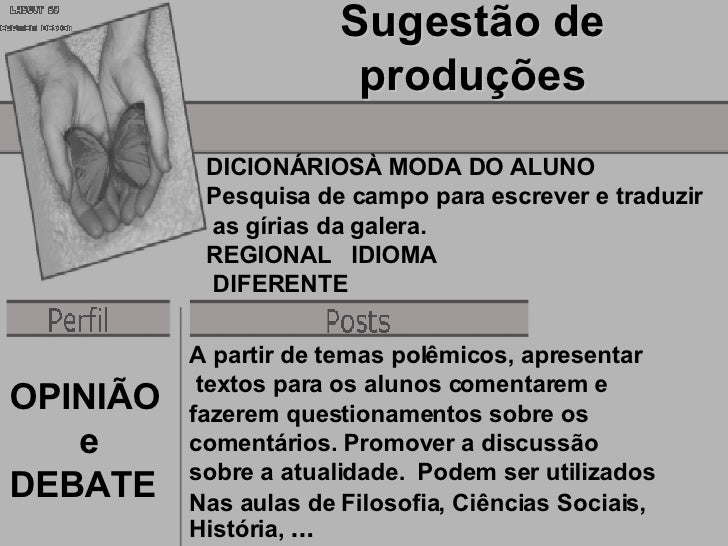 Sugestão de                         produções            DICIONÁRIOSÀ MODA DO ALUNO            Pesquisa de campo para escr...