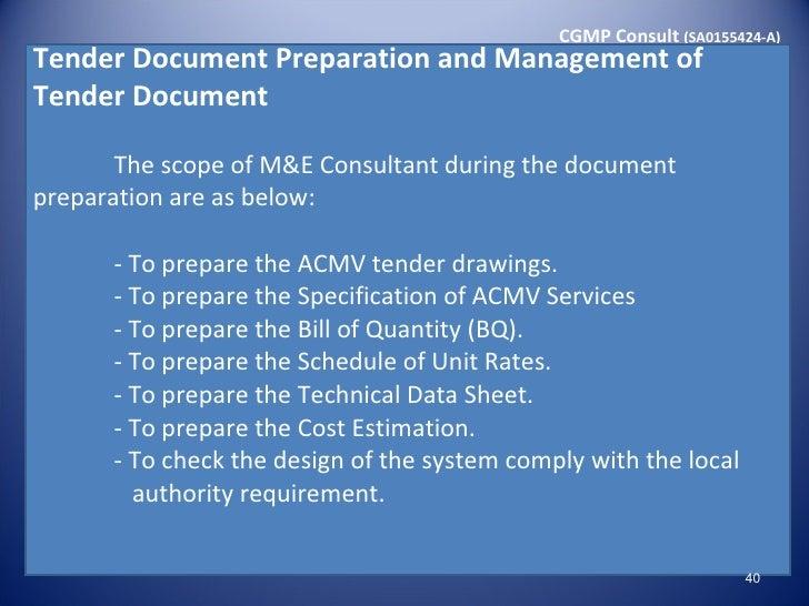 Seminar pengenalan kepada spesifikasi standard dan for Prepare tender documents