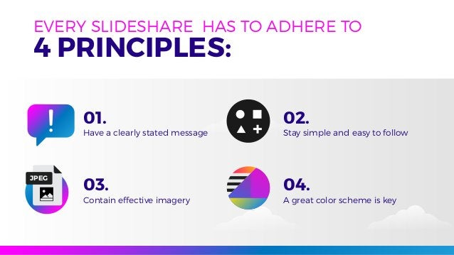EVERY SLIDESHARE HAS TO ADHERE TO 4 PRINCIPLES: Have a clearly stated message Stay simple and easy to follow Contain effec...