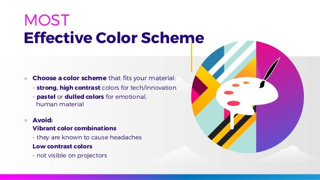 Effective Color Scheme MOST Choose a color scheme that fits your material: - strong, high contrast colors for tech/innovati...