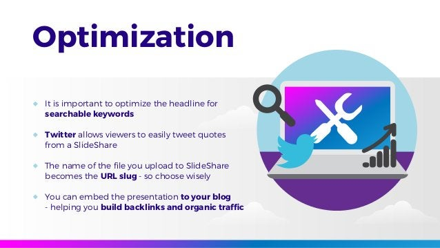 Optimization It is important to optimize the headline for searchable keywords Twitter allows viewers to easily tweet quote...