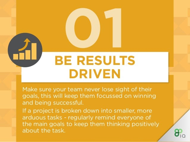 01BE RESULTS DRIVEN Make sure your team never lose sight of their goals, this will keep them focussed on winning and being...