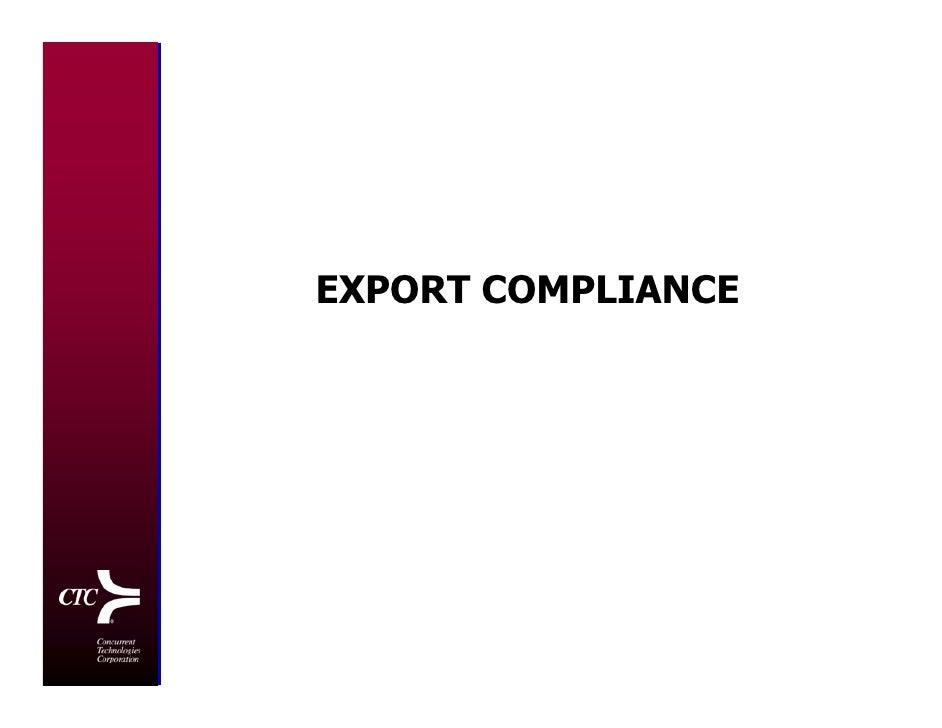 EXPORT COMPLIANCE                         1