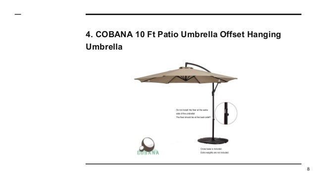 Cobana 10 Ft Patio Umbrella Offset Hanging Umbrella 8. Southern ...
