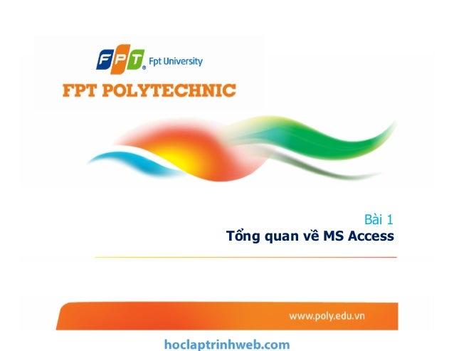 Bài 1 Tổng quan về MS Access