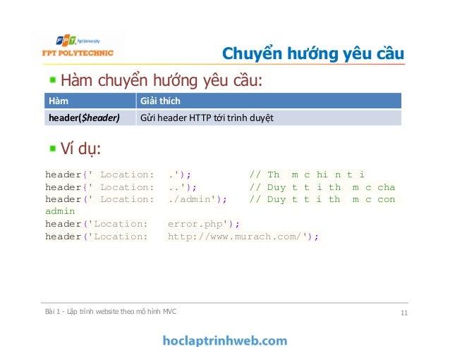 Hàm chuyển hướng yêu cầu: Ví dụ: Chuyển hướng yêu cầu Bài 1 - Lập trình website theo mô hình MVC 11 Hàm Giải thích header(...